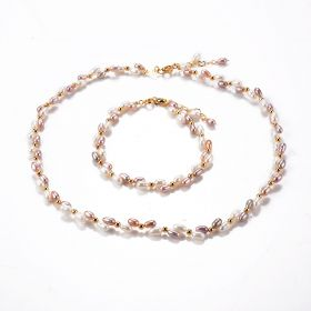 Fancy Light Purple and White Mixed Color Freshwater Rice Pearl Strand Necklace and Bracelet Set