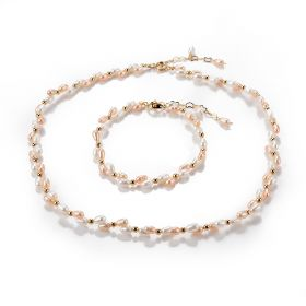 Dainty Pink and White Color Freshwater Rice Pearl Necklace Strand and Matching Bracelet