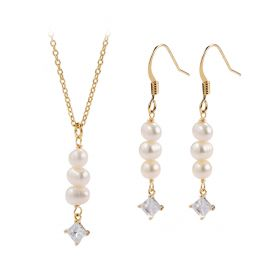 Gold Plated Brass Chain White Rice Pearl with CZs Pendant Necklace and Drop Dangle Earring Jewelry Set