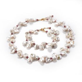 Classic Women's Irregular shaped Baroque Pearl Necklace and Bracelet Set