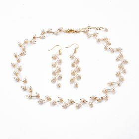 Fashion White Pearl Jewelry Branches Bent Design Women Necklace Earring Sets for Wedding Party Jewelry