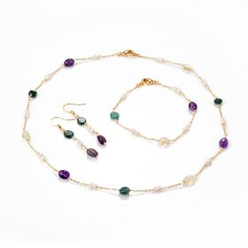Delicate Russian Amazonite Amethyst Citrine Pearls Gemstone Chain Necklace Bracelet Earrings Set