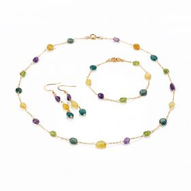 Colorful Gemstone Russian Amazonite Peridot Amethyst Yellow Opal Necklace Bracelet Earrings Jewelry Set