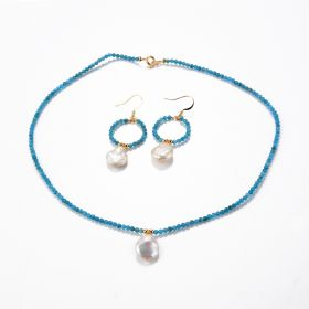 Baroque Coin Pearl Pendant Faceted Blue Apatite Beaded Necklace and O shaped Earrings Jewelry Set