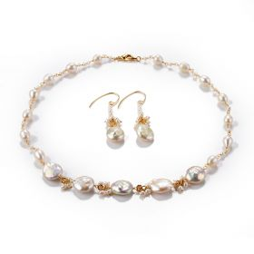Baroque White Freshwater Pearl Chain Link Necklace and Dangle Earrings Set