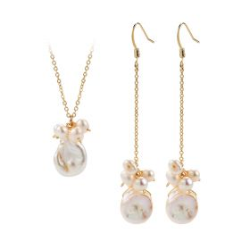 White Baroque Pearl Pendant Necklace and Long Dangle Earrings Bridesmaid Jewelry Set