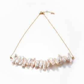 Freshwater Biwa Pearl Necklace Jewelry Gold Plated Brass Flat Cable Chain 18 inch