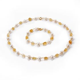 Classic Citrine and Freshwater Pearl Bohemian Jewelry Necklace Bracelet Set for Women