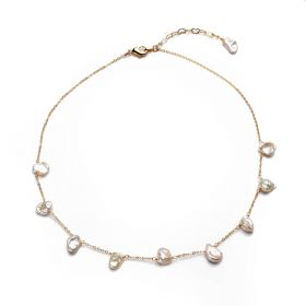 Flat Baroque White Cultured Freshwater Pearl Gilded Copper Chain Necklace for Women
