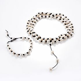 Women's Knotted Freshwater Cultured Pearls Leather Necklace and Bracelet Jewelry Set