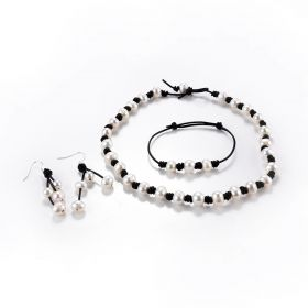 Knotted Leather Pearl Choker Necklace Bracelet Drop Earrings Cultured Pearl Bead Jewelry on Leather Cord