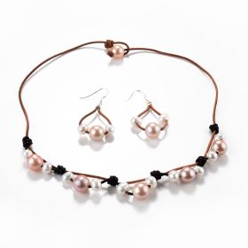 Pink White Freshwater Pearls Knotted on Leather Cord Necklace Earrings Set
