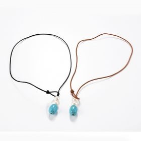 White Freshwater Pearl and Turquoise Leather Lariat Necklace