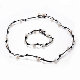 Leather with White Freshwater Pearl Handmade Women's Necklace Bracelet Jewelry