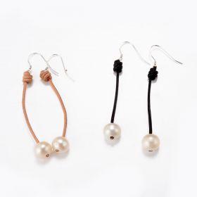 Single 9-10mm White Pearl Leather Drop Dangle Earrings 925 Sterling Silver Ear Wire