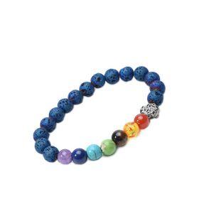 Blue Lava Beads 7 Chakra Healing Yoga Diffuser Bracelet with Fox Head Charm