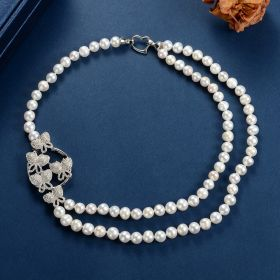 Women's Butterfly White Pearl Strand Two Layered Necklace