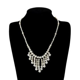 White Graduating Pearls Bib Necklace Womens Jewelry Wedding Bride Gift Adjustable
