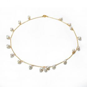 Simple Fashion White Pearl Necklace with Gold Plated Chain and Rice Type Pearl