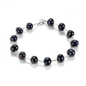 Black Freshwater Pearl and Silvery Tube Bracelet Charm Bangle