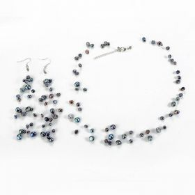 Bridal Black Cultured Pearl Illusion Necklace Earrings Jewelry Set