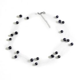 Bridal Freshwater Cultured Pearl Illusion Necklace 3 Strand
