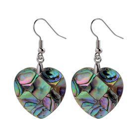 Simple Natural Love Heart Shape Abalone Shell Earrings Ear Drop