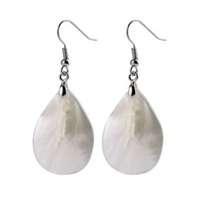 Simple White Shell Drop Dangle Earrings with Copper Hook for Women