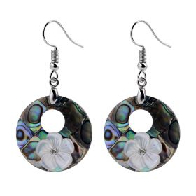 Elegant Women's Round Shell Dangle Earrings with White Flower for Fine Jewelry