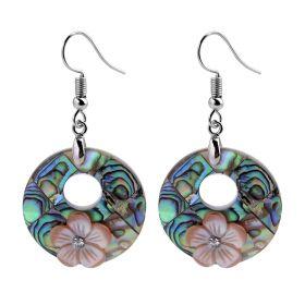 Round Shell Drop Dangle Earrings for Women Fashion Jewelry Copper Hook