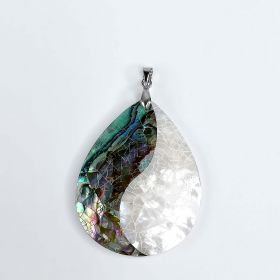 Teardrop Abalone Shell Mother of Pearl Yin Yang Pendant