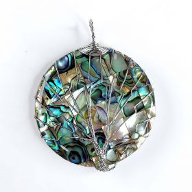 Copper Wire Wrapped Round Natural Abalone Shell Pendant Jewelry For Women