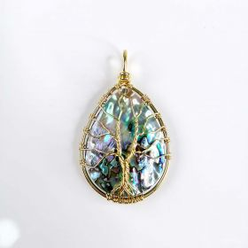 Natural Abalone Shell Pear Shape Pendant Wire Wrapped Tree of Life Jewelry