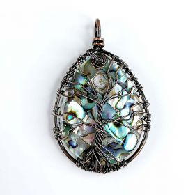 Teardrop Shaped Abalone Paua Shell Pendant Wire Wrapped Tree of Life Pendant