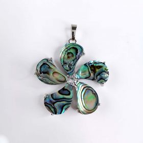 Natural Abalone Paua Shell Flower Jewelry Charm Pendants for Women
