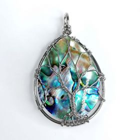 Natural Mother of Pearl Abalone Shell Pendants Handmade Wire Wrapped