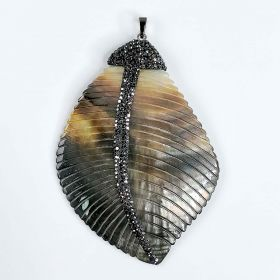 Carved Black Mother of Pearl Shell Leaf Shape Pendant Charms