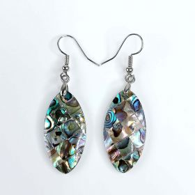 Natural Abalone Paua Shell Inlay Mosaic Dangle Earrings