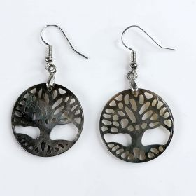Carved Black Mother of Pearl Shell Round Tree of Life Earrings