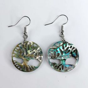 Natural Abalone Paua Shell Tree of Life Dangle Earrings for Women
