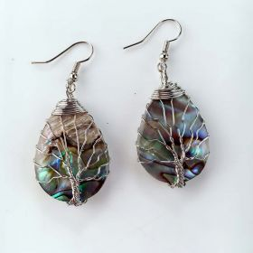 Tree of Life Dangle Earrings Abalone Teardrop Shell Handmade Wire Wrapped Drop Earrings
