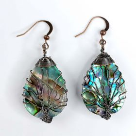 Tree of Life Earrings Teardrop Abalone Paua Shell with Copper Wire Wrapped