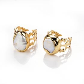Gold Plated Brass Baroque Freshwater Pearl Durable Open Ring Hollow Wide Band