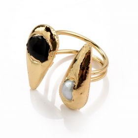 White Baroque Pearl and Black Cat's Eye Stone Inlaid Gold Plated Brass Open Rings Adjustable
