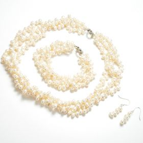 Three-strand Twisted Dancing Pearl Necklace Bracelet Earrings Set
