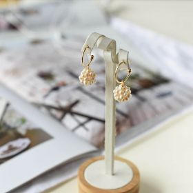 Freshwater Cultured Pearl Cluster Earrings Gold Plated U Stud Jewelry for Women