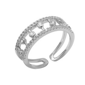 1pc 925 Sterling Silver Lovely Simple Hollow Fashion Open Ring Woman Adjustable Ring