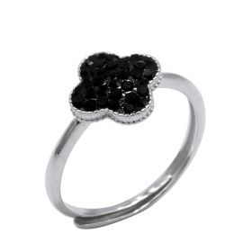 Beautiful 925 Sterling Silver Women's Lucky 4 Leaf Clover Adjustable Ring