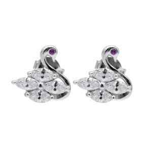 Lovely Swan Earrings Cubic Zirconia Sterling Silver Ear Stud Pin for Women and Girls