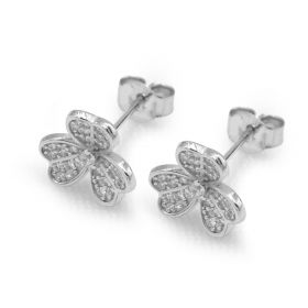 925 Sterling Silver Lucky Three Leaf Clover Heart Shaped Cubic Zirconia Stud Earrings